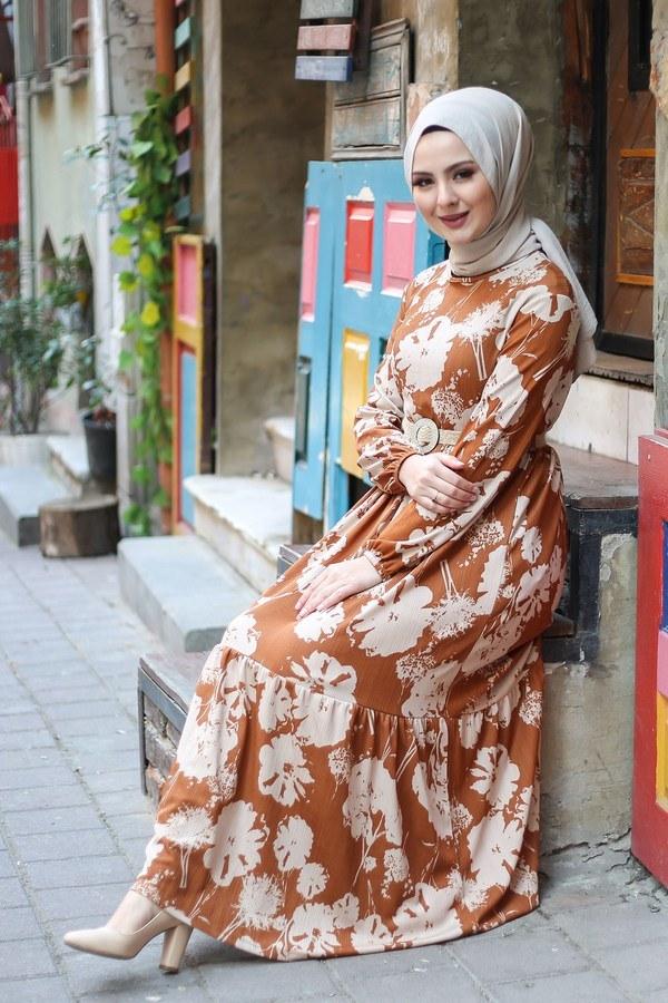 AVEN Hasır Kemerli Elbise 8831-2