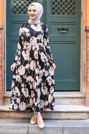 AVEN Hasır Kemerli Elbise 8831-3 - Thumbnail
