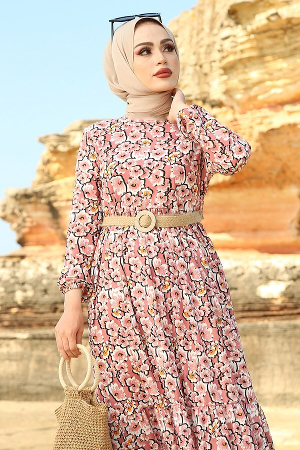 AVEN Karanfil Desenli Elbise 17652-2 Pudra