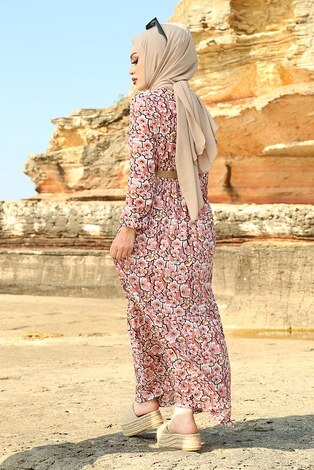 AVEN Karanfil Desenli Elbise 17652-2 Pudra - Thumbnail