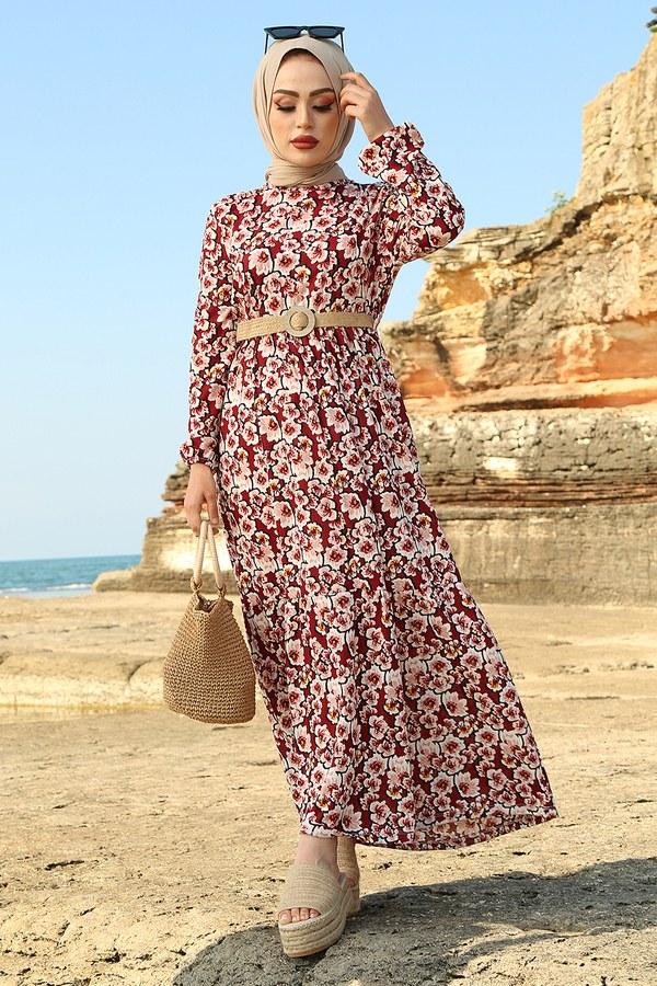 AVEN Karanfil Desenli Elbise 17652-3 Bordo