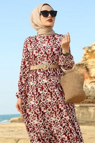 AVEN Karanfil Desenli Elbise 17652-3 Bordo - Thumbnail
