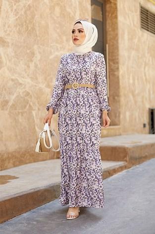 AVEN Karanfil Desenli Elbise 17652-4 Lila - Thumbnail