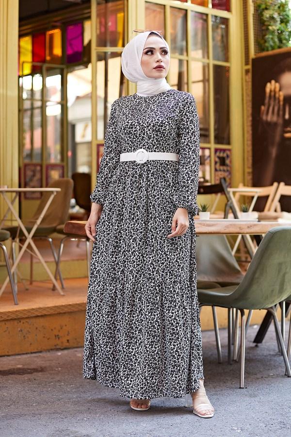 AVEN Kemerli Çiçek Desen Elbise 9457-1 Siyah