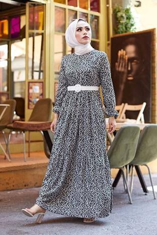 AVEN Kemerli Çiçek Desen Elbise 9457-1 Siyah - Thumbnail