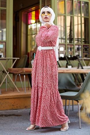 AVEN Kemerli Çiçek Desen Elbise 9457-2 Kırmızı - Thumbnail