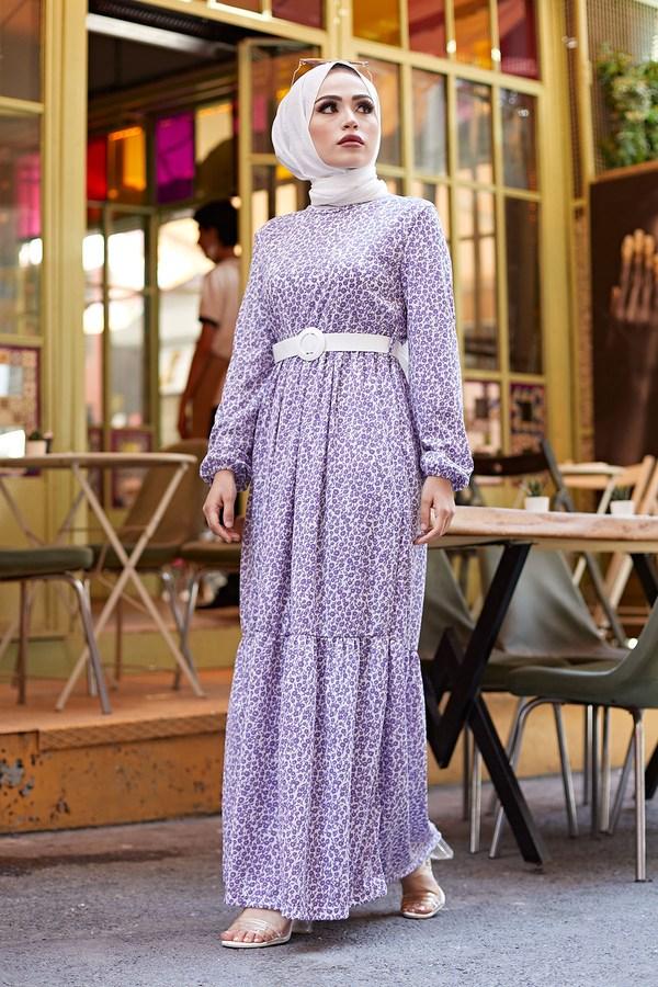 AVEN Kemerli Çiçek Desen Elbise 9457-4 Lila