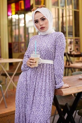 AVEN Kemerli Çiçek Desen Elbise 9457-4 Lila - Thumbnail