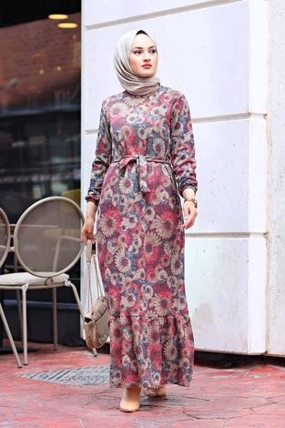 - AVEN Lazer Baskılı Elbise 1094-1