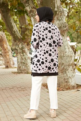 AVEN Puantiye Desen Spor Tunik 2318-4 Lila - Thumbnail