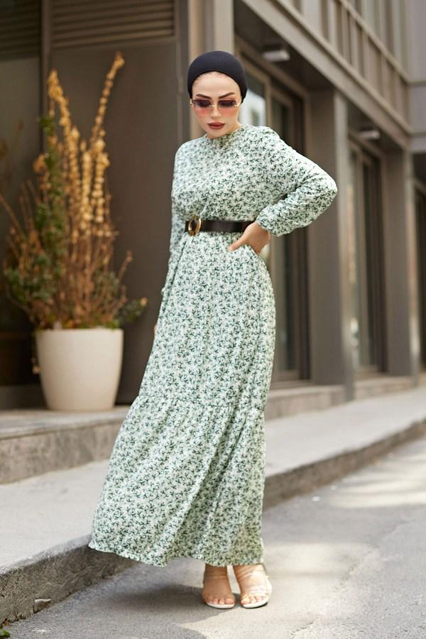 AVEN Siyah Kemerli ÇıtıPıtı Elbise 7045-6 Mint