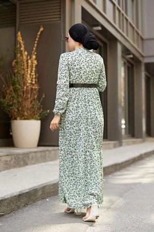 AVEN Siyah Kemerli ÇıtıPıtı Elbise 7045-6 Mint - Thumbnail