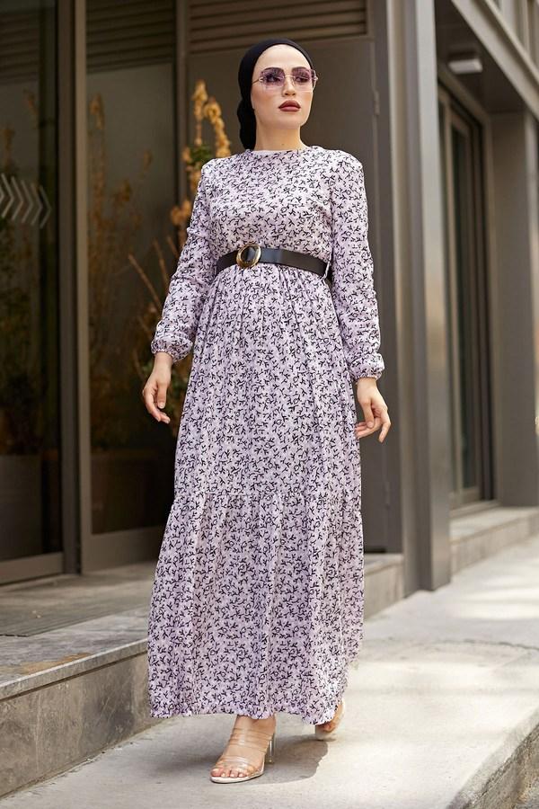 AVEN Siyah Kemerli ÇıtıPıtı Elbise 7045-7 Lila