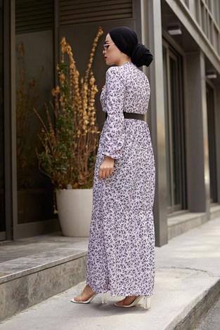 AVEN Siyah Kemerli ÇıtıPıtı Elbise 7045-7 Lila - Thumbnail
