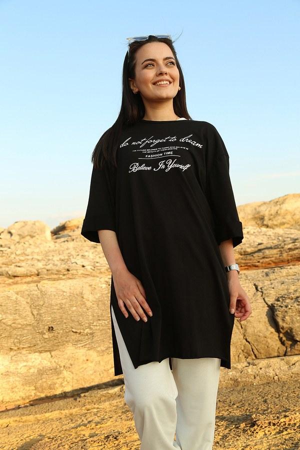 AVEN Yazı Baskılı T-shirt 2352-1 Siyah