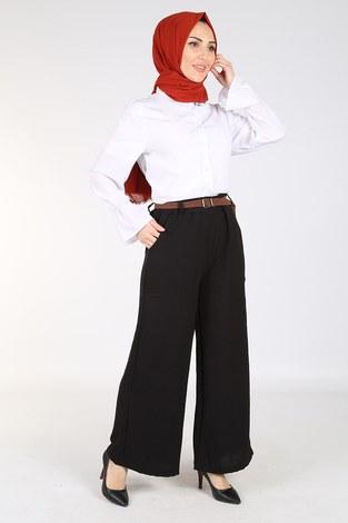 - Ayrobin Hasır Kemerli Pantolon 6090-1 Siyah