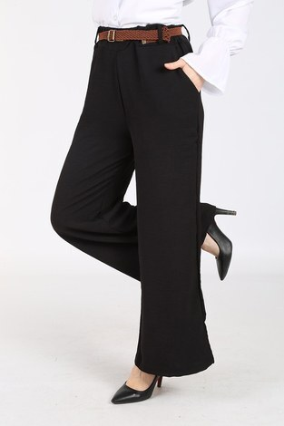 - Ayrobin Hasır Kemerli Pantolon 6090-1 Siyah (1)