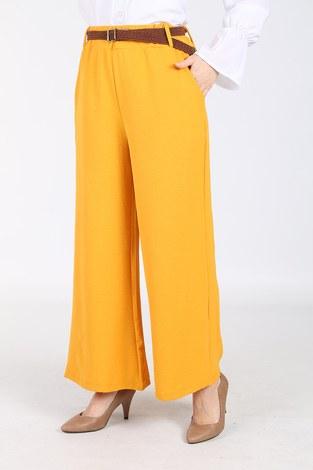 - Ayrobin Hasır Kemerli Pantolon 6090-2 Sarı (1)