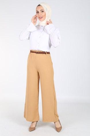 - Ayrobin Hasır Kemerli Pantolon 6090-9 Cappucino