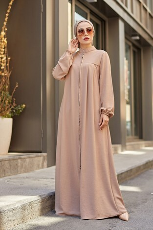 - Ayşe Boydan Fermuarlı Ferace 6699-7 Camel