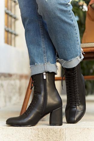 - Bağcıklı Çizme 6746-1 Siyah (1)