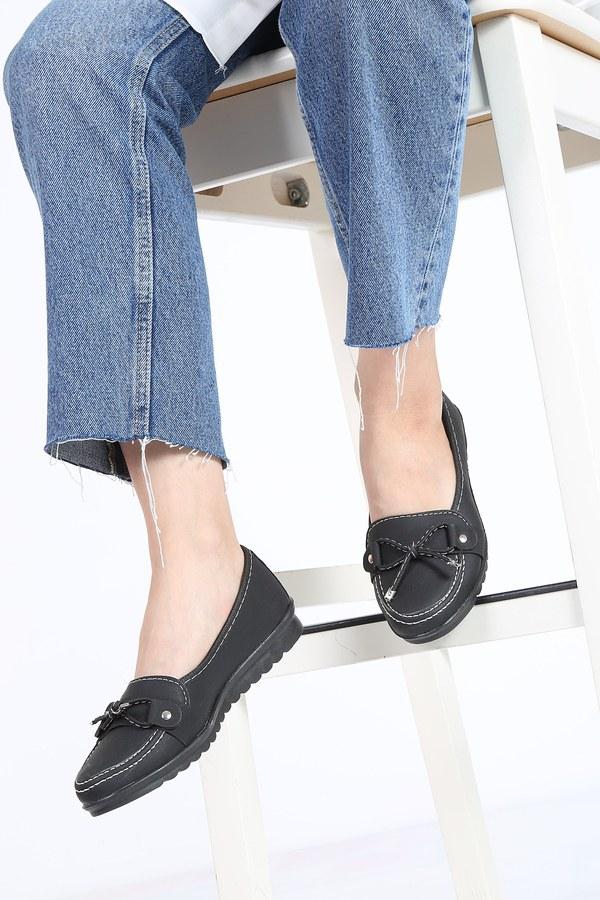 Bağcıklı Loafer Ayakkabı 6002-1 Siyah