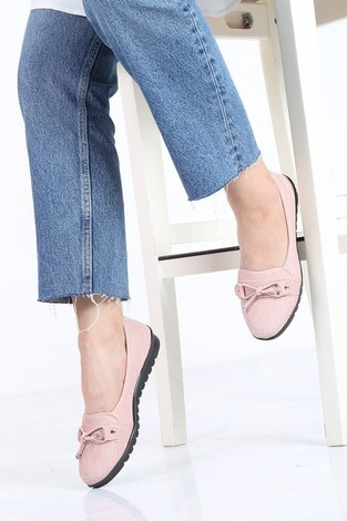 - Bağcıklı Loafer Ayakkabı 6002-2 Pudra