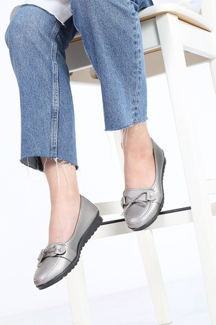 - Bağcıklı Loafer Ayakkabı 6002-4 Gri