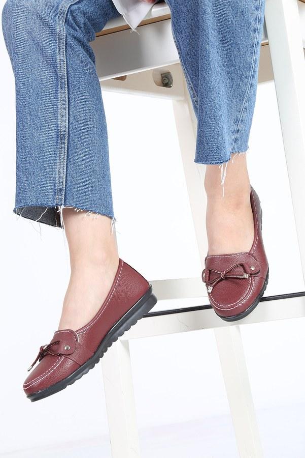 Bağcıklı Loafer Ayakkabı 6002-7 Bordo