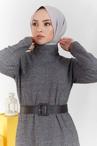 ModaPerisi - Balıkçı Yaka Balıksırtı Desenli Elbise 100MD6050 Gri (1)