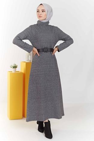 ModaPerisi - Balıkçı Yaka Balıksırtı Desenli Elbise 100MD6050 Gri