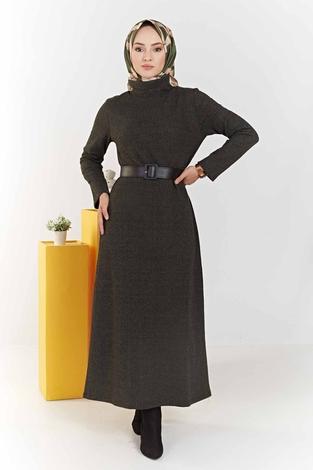 Balıkçı Yaka Balıksırtı Desenli Elbise 100MD6050 Haki - Thumbnail