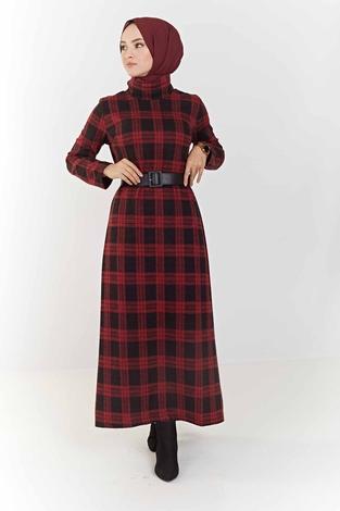 ModaPerisi - Balıkçı Yaka Ekoseli Elbise 100MD6050 Bordo