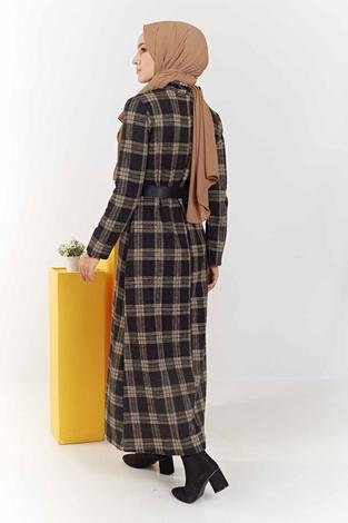 Balıkçı Yaka Ekoseli Elbise 100MD6050 Camel - Thumbnail