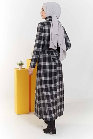 Balıkçı Yaka Ekoseli Elbise 100MD6050 Gri - Thumbnail