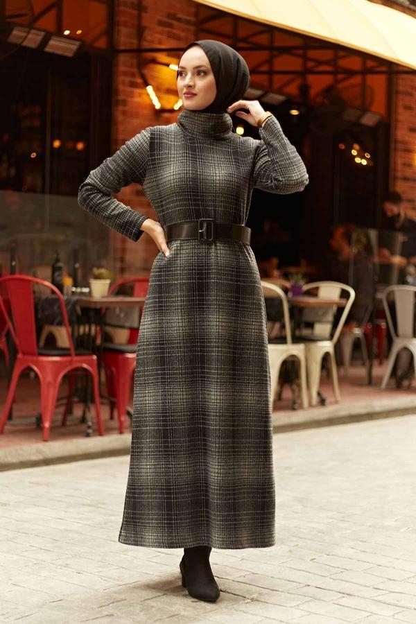 Balıkçı Yaka Elbise 23411-06 Siyah