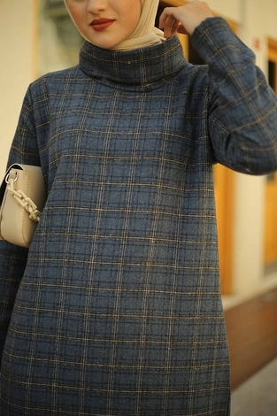 ESSİ Balıkçı Yaka Elbise 6448-5 İndigo - Thumbnail