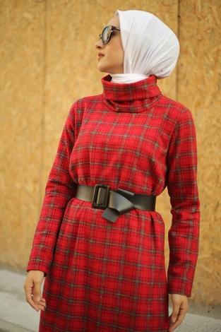 ESSİ Balıkçı Yaka Elbise 6448-7 Kırmızı - Thumbnail