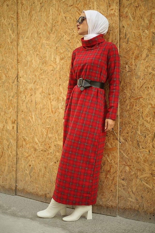 ESSİ Balıkçı Yaka Elbise 6448-7 Kırmızı