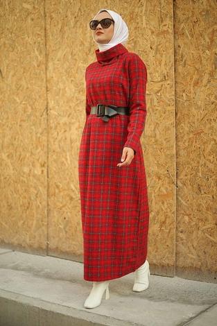 - ESSİ Balıkçı Yaka Elbise 6448-7 Kırmızı