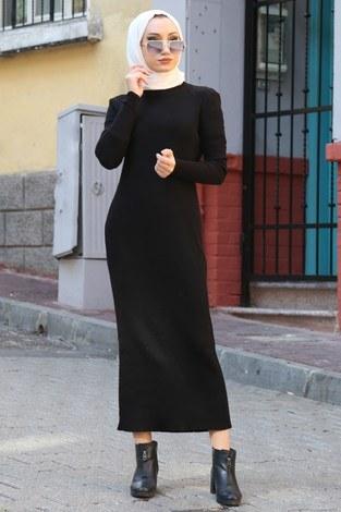 - Triko Elbise 12100-01 siyah