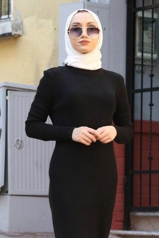 - Triko Elbise 12100-01 siyah (1)