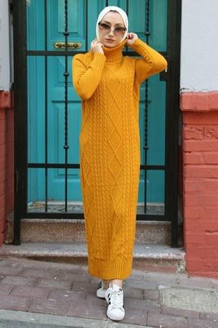 - Balıkçı Yaka Triko Elbise 2131-10