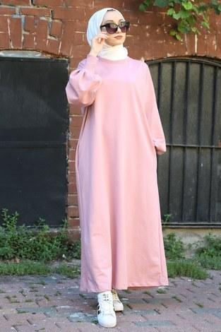 - Balon Kol Elbise 2367-09 pembe