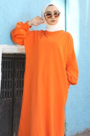 - Balon Kol Elbise 2367-07 turuncu (1)