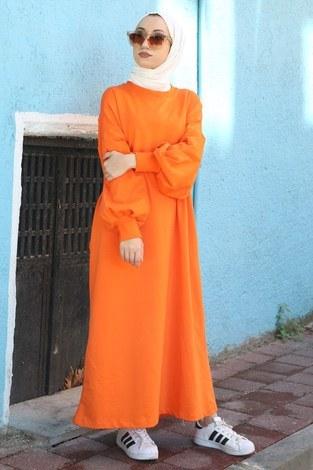- Balon Kol Elbise 2367-07 turuncu
