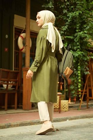 Balonkol Trenç 100MD10055 Haki - Thumbnail