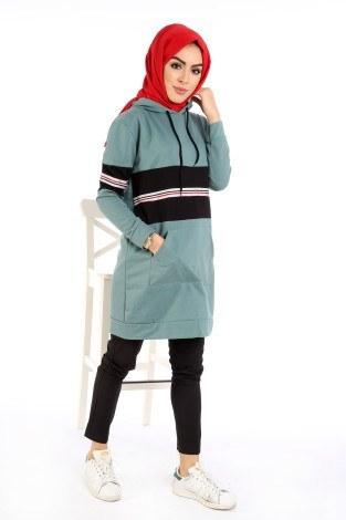 - İki Renkli Kanguru Cep Kapüşonlu Tunik TN4333-06