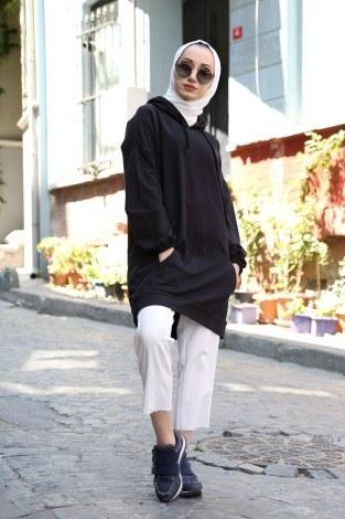 - Baskılı Kapüşonlu Spor Tunik TN4328-1 siyah
