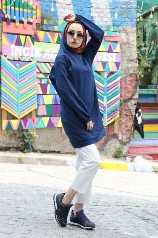 Baskılı Kapüşonlu Spor Tunik TN4328-7 - Thumbnail